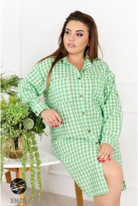 Зелена повсякденна клетчата сукня-сорочка великих розмірів