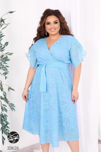 Блакитне квіткове гармонійне плаття з шифону