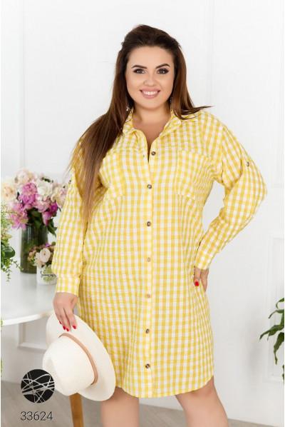 Жовта універсальна простора сукня-сорочка з принтом в клітинку