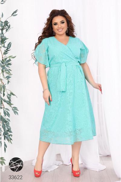 Ментолове актуальне шифонове плаття на запах