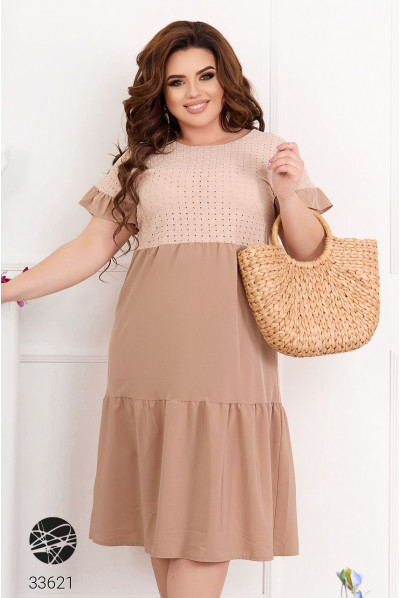 Бежева елегантна літня сукня А-силуету