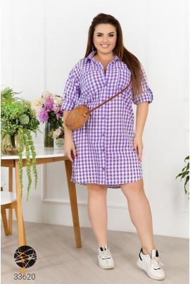 Бузкова коротка вільна сукня сорочка з батисту