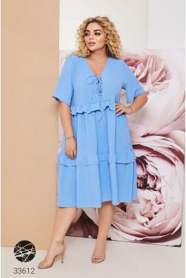 Блакитне зачаровуюче лляне плаття міді