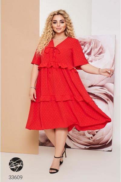 Червоне жіноче літнє плаття міді з оборками