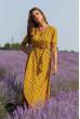 Гірчичне літнє принтованне плаття міді на запах