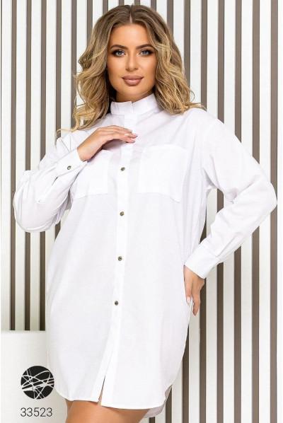 Біла котонова сукня-сорочка міні великих розмірів
