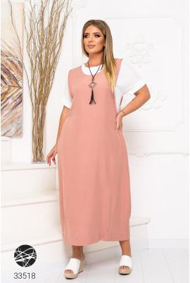 Рожеве повсякденне затишне плаття-футболка міді