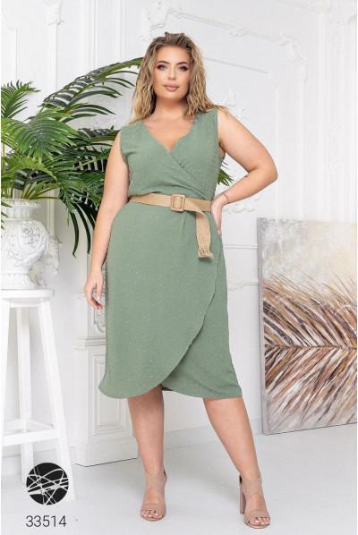 Ментолова елегантна сукня-футляр з ремінем