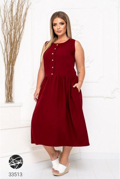 Бордове гармонійне жіноче плаття для повних жінок