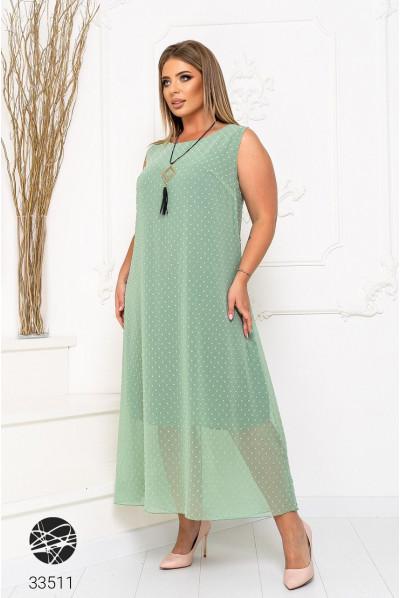 Ментолове довге шифонове плаття з фактурною обробкою
