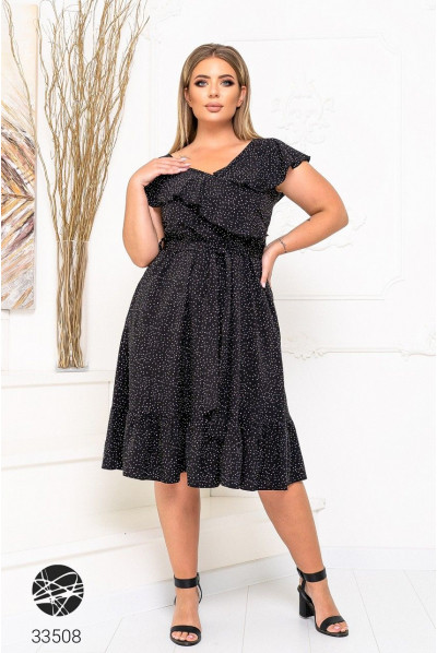 Чорна ультрамодна жіноча сукня в горох