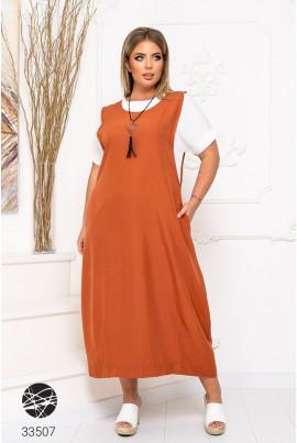 Помаранчеве комфортне модне плаття-футболка
