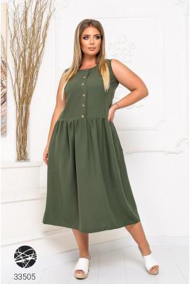 Актуальне легке плаття міді кольору хакі