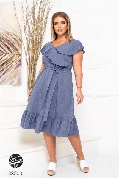 Синя жіноча принтованна сукня міді з оборками
