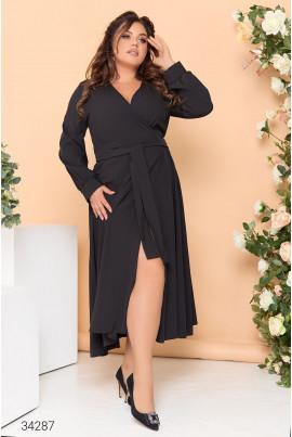 Чорна шикарна вечірня сукня для жінок з королівськими формами