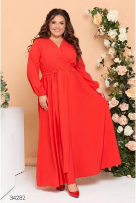 Червона елегантна довга сукня на запах