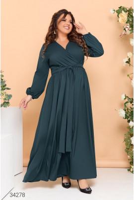 Зелена дивовижна сукня максі з поясом