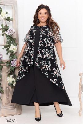 Чорна ошатна жіноча сукня максі з накидкою