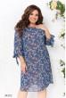 Синя гармонійна шифонова сукня міді з квітковим принтом
