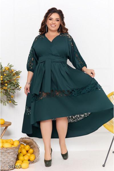 Зелена дивовижна романтична сукня міді з гіпюром