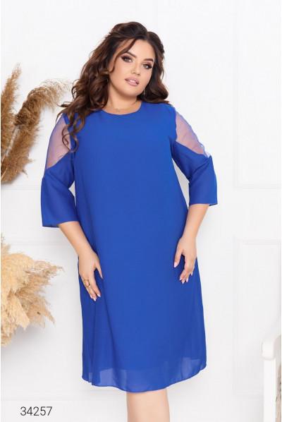 Елегантна шифонова сукня міді кольору електрик