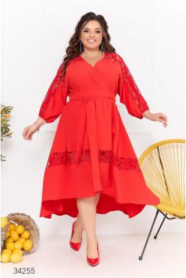 Червона неймовірно ошатна сукня міді на запах