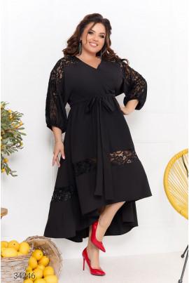 Чорна вишукана феєрична сукня на запах