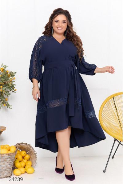 Синя зачаровуюча сукня на запах для жінок з королівськими формами