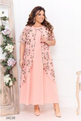 Рожева чарівна ошатна сукня з накидкою з сітки