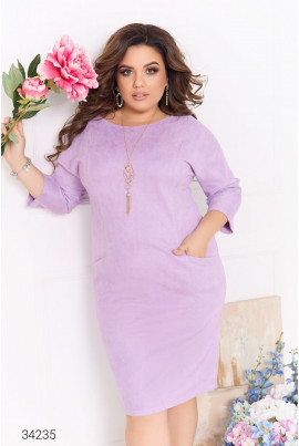 Бузкова замшева ніжна сукня для жінок з апетитними формами