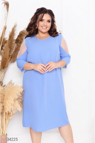 Блакитна гармонійна жіноча сукня з шифону