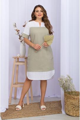 Оливкова універсальна сукня з комбінованих матеріалів