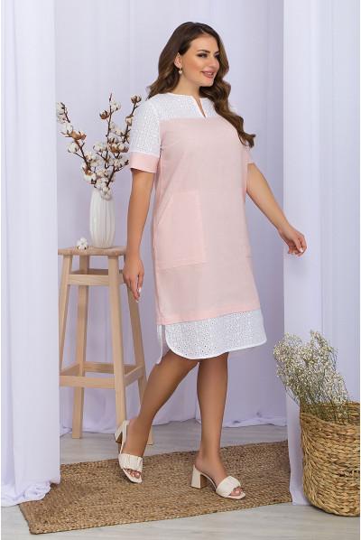 Пудрове мінімалістичне жіноче плаття з кишенями