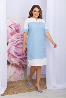 Блакитно-біле елегантне плаття міді для повних жінок