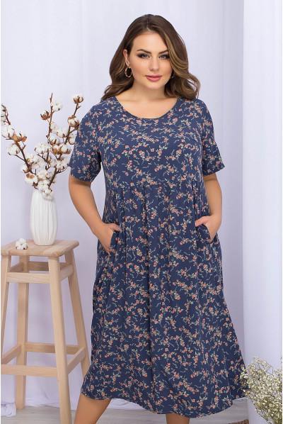 Темно-джинсове повсякденне плаття міді з принтом