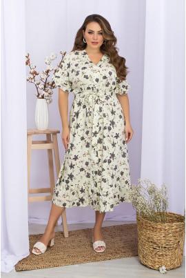 Ванільна елігантна сукня міді для жінок з королівськими формами