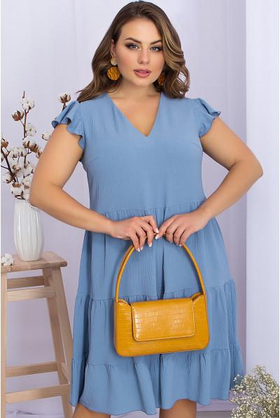 Однотонна грайлива сукня джинсового кольору