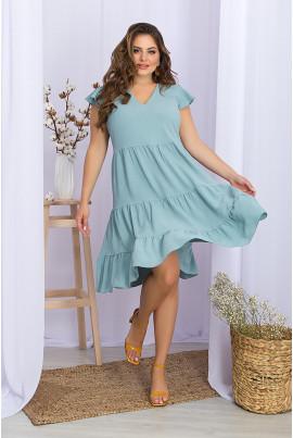 Світло-бірюзове витончене жіноче просторе плаття