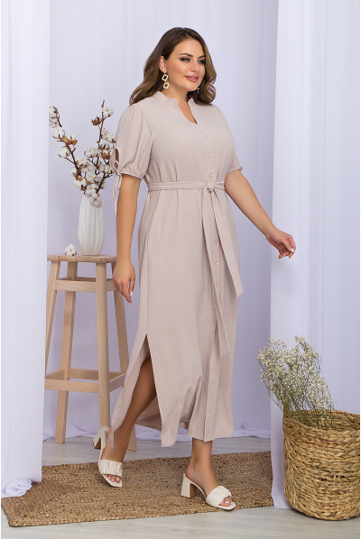 Світло-бежева однотонна сукня максі великих розмірів