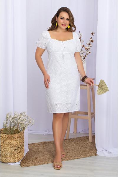 Біла зачаровуюча сукня міні з прошви для повних жінок