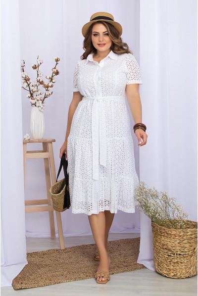 Біла дивовижна сукня з прошви для жінок з пишними формами