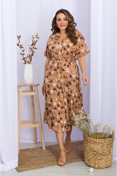 Неймовірно жіночне трендове плаття міді карамельного кольору