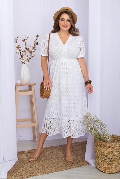 Біле лаконічне елегантне плаття для повних жінок