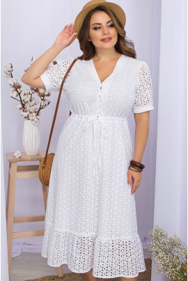 Біле грайливе жіноче плаття міді з прошви