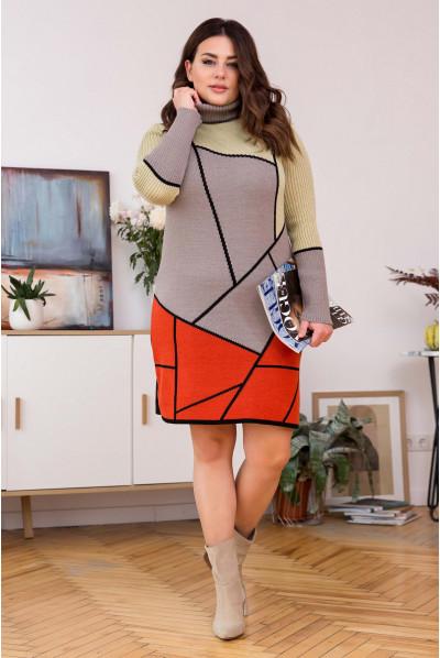Тепле в'язане плаття з геометричним малюнком (капучіно-теракот)