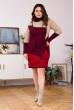 Вязане плаття бордово-бежевого кольору з геометричним акцентом