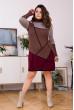В'язане тепле плаття з геометричним орнаментом (шоколад/вишня)