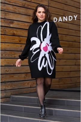 В'язане плаття чорного кольору з яскравою квіткою