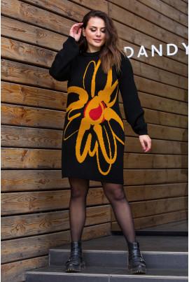 В'язане плаття чорного кольору з яскравою помаранчевою квіткою