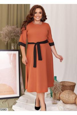Теракотове модне плаття з пишною спідницею